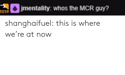 This Is Where: etality: whos the MCR guy?  2019 shanghaifuel:  this is where we're at now