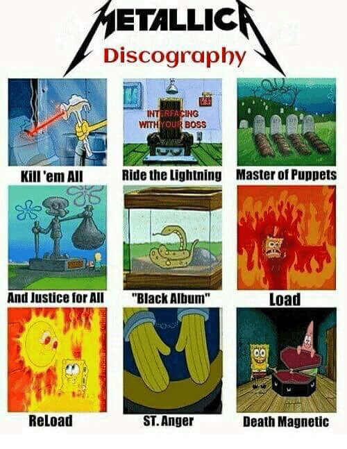 """puppets: ETALLIC  Discography  INT  WITHYOUR BOSS  ING  Kill 'em All  Ride the Lightning  Master of Puppets  And JustieAll """"Black Album""""  Load  Reload  ST. Anger  Death Magnetic"""