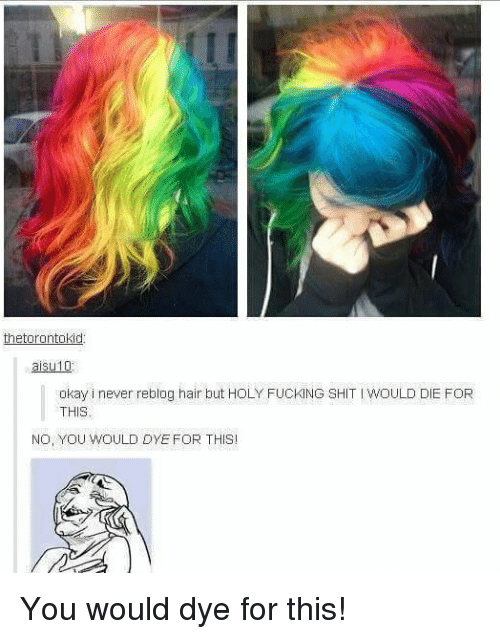 Memes, 🤖, and Butts: etorontokid  aisu10  okayinever reblog hair butt HOLY FucKING SHIT woULD DIE FOR  NO, YOU WOULD DYE FOR THIS You would dye for this!