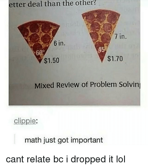 Lol, Memes, and Math: etter deal than the  other  7 in  6 in.  45  0  $1.50  $1.70  Mixed Review of Problem Solvin  clippie:  math just got important cant relate bc i dropped it lol