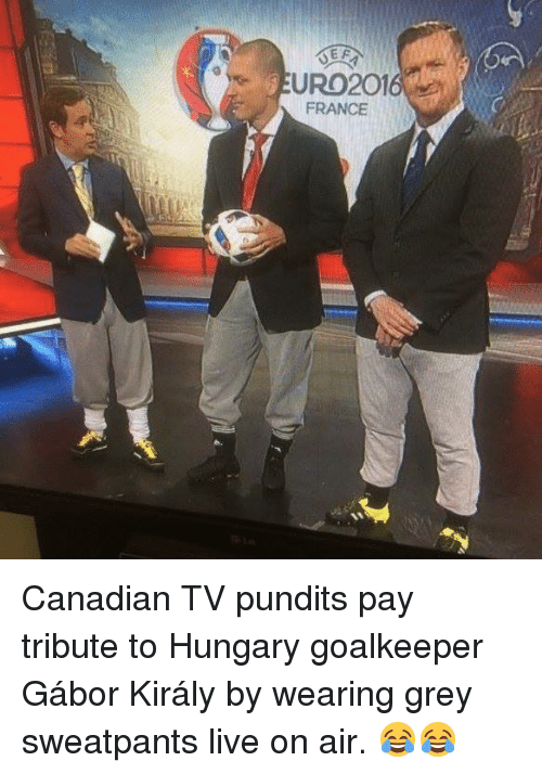 Grey Sweatpants: EURO2016  FRANCE Canadian TV pundits pay tribute to Hungary goalkeeper Gábor Király by wearing grey sweatpants live on air. 😂😂