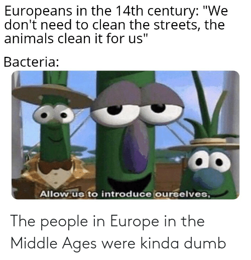 """middle ages: Europeans in the 14th century: """"We  don't need to clean the streets, the  animals clean it for us""""  Bacteria:  ao  Allow us to introduce ourselves, The people in Europe in the Middle Ages were kinda dumb"""