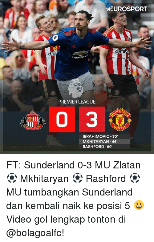 Memes, Premier League, and Video: EUROSPORT  dafab  da  CHEVIRO  PREMIER LEAGUE  ACHES  33  UNITE  IBRAHIMOVIC 30  MKHITARYAN -46  RASHFORD 89 FT: Sunderland 0-3 MU Zlatan ⚽ Mkhitaryan ⚽ Rashford ⚽ MU tumbangkan Sunderland dan kembali naik ke posisi 5 😀 Video gol lengkap tonton di @bolagoalfc!