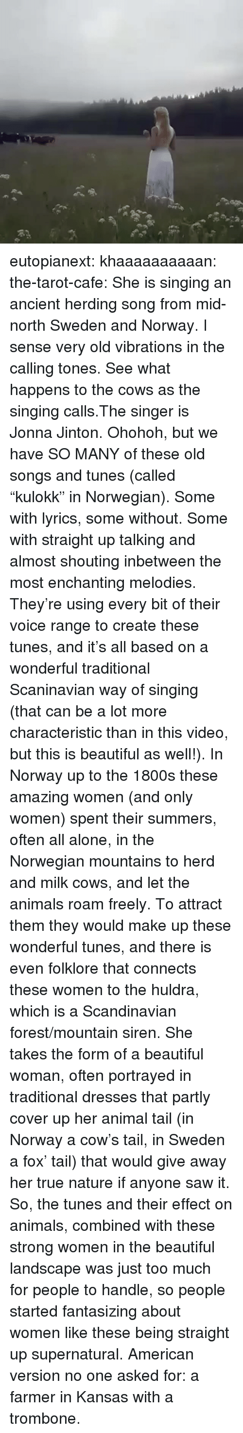 """tunes: eutopianext:  khaaaaaaaaaan:  the-tarot-cafe:   She is singing an ancient herding song from mid-north Sweden and Norway. I sense very old vibrations in the calling tones. See what happens to the cows as the singing calls.The singer is Jonna Jinton.   Ohohoh, but we have SO MANY of these old songs and tunes (called """"kulokk"""" in Norwegian). Some with lyrics, some without. Some with straight up talking and almost shouting inbetween the most enchanting melodies. They're using every bit of their voice range to create these tunes, and it's all based on a wonderful traditional Scaninavian way of singing (that can be a lot more characteristic than in this video, but this is beautiful as well!).  In Norway up to the 1800s these amazing women (and only women) spent their summers, often all alone, in the Norwegian mountains to herd and milk cows, and let the animals roam freely. To attract them they would make up these wonderful tunes, and there is even folklore that connects these women to the huldra, which is a Scandinavian forest/mountain siren. She takes the form of a beautiful woman, often portrayed in traditional dresses that partly cover up her animal tail (in Norway a cow's tail, in Sweden a fox' tail) that would give away her true nature if anyone saw it.  So, the tunes and their effect on animals, combined with these strong women in the beautiful landscape was just too much for people to handle, so people started fantasizing about women like these being straight up supernatural.  American version no one asked for: a farmer  in Kansas   with a trombone."""