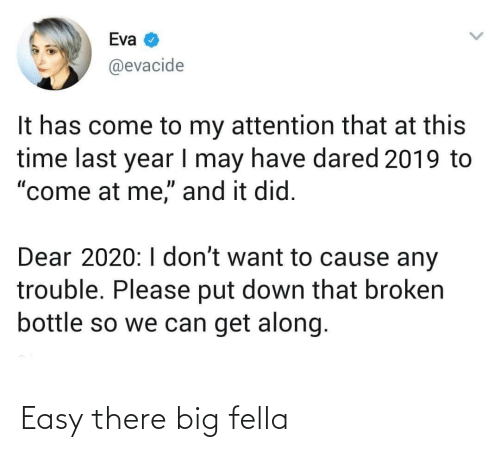 "Come To: Eva  @evacide  It has come to my attention that at this  time last year I may have dared 2019 to  ""come at me,"" and it did.  Dear 2020:I don't want to cause any  trouble. Please put down that broken  bottle so we can get along. Easy there big fella"