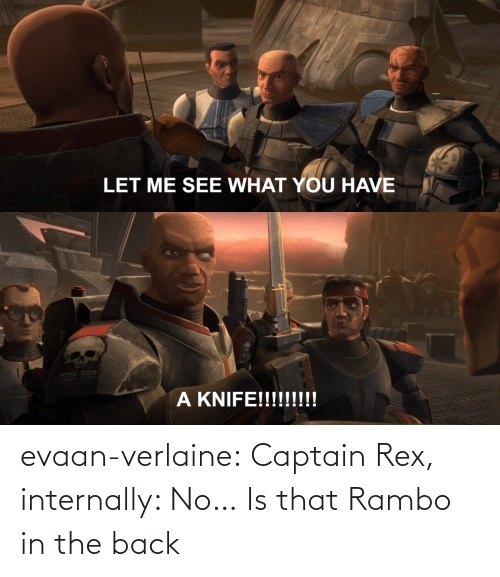 Rex: evaan-verlaine:  Captain Rex, internally: No…   Is that Rambo in the back
