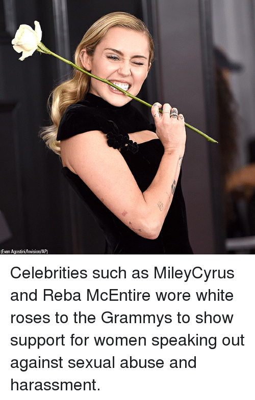 Grammys, Memes, and White: Evan Agostini/nvision/AP) Celebrities such as MileyCyrus and Reba McEntire wore white roses to the Grammys to show support for women speaking out against sexual abuse and harassment.