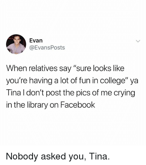 """College, Crying, and Facebook: Evan  @EvansPosts  When relatives say """"sure looks like  you're having a lot of fun in college"""" ya  Tina I don't post the pics of me crying  in the library on Facebook Nobody asked you, Tina."""