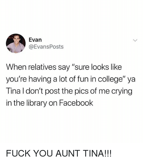 """College, Crying, and Facebook: Evan  @EvansPosts  When relatives say """"sure looks like  you're having a lot of fun in college"""" ya  Tina I don't post the pics of me crying  in the library on Facebook FUCK YOU AUNT TINA!!!"""