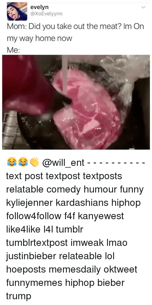 Funny, Kardashians, and Lmao: evelyn  axoEvelyynn  Mom: Did you take out the meat? Im On  my way home now  Me: 😂😂👏 @will_ent - - - - - - - - - - text post textpost textposts relatable comedy humour funny kyliejenner kardashians hiphop follow4follow f4f kanyewest like4like l4l tumblr tumblrtextpost imweak lmao justinbieber relateable lol hoeposts memesdaily oktweet funnymemes hiphop bieber trump