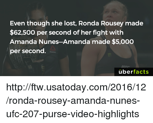 Ronda Rousey: Even though she lost, Ronda Rousey made  $62,500 per second of her fight with  Amanda Nunes-Amanda made $5,000  per second.  uber  facts http://ftw.usatoday.com/2016/12/ronda-rousey-amanda-nunes-ufc-207-purse-video-highlights