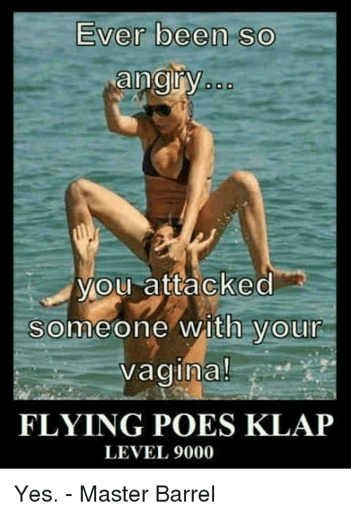 Memes, Masters, and Vagina: Ever been so  angry  you attacked  Someone with your  vagina!  FLYING POES KLAP  LEVEL 9000 Yes. - Master Barrel
