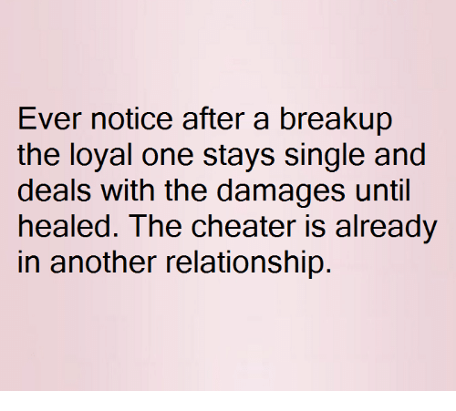 breakup: Ever notice after a breakup  the loyal one stays single and  deals with the damages until  healed. The cheater is already  in another relationship.