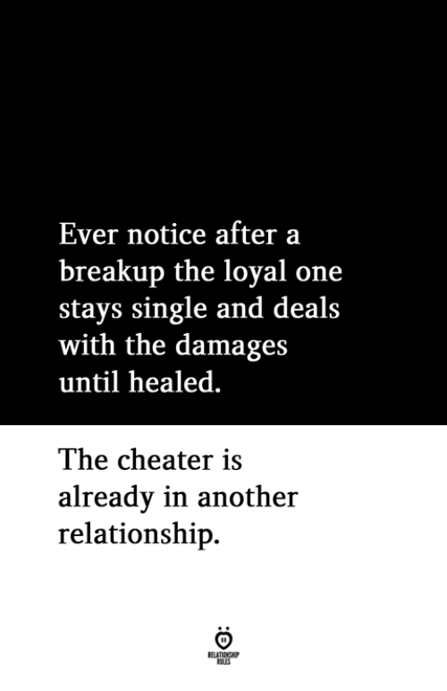 breakup: Ever notice after a  breakup the loyal one  stays single and deals  with the damages  until healed  The cheater is  alreadv in another  relationship.