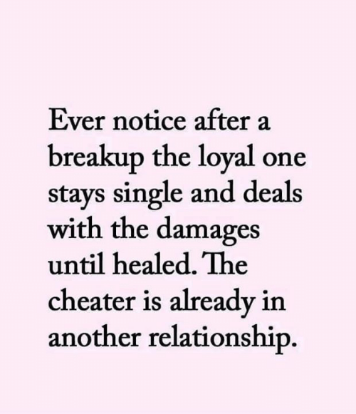 breakup: Ever notice after a  breakup the loyal one  stays single and deals  with the damages  until healed. The  cheater is already in  another relationship