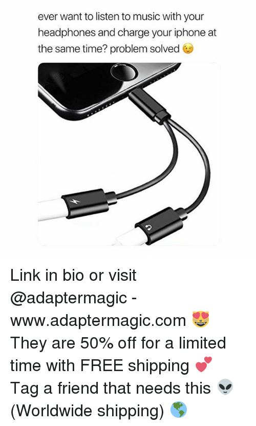 Iphone, Music, and Free: ever want to listen to music with your  headphones and charge your iphone at  the same time? problem solved G Link in bio or visit @adaptermagic - www.adaptermagic.com 😻 They are 50% off for a limited time with FREE shipping 💕 Tag a friend that needs this 👽 (Worldwide shipping) 🌎
