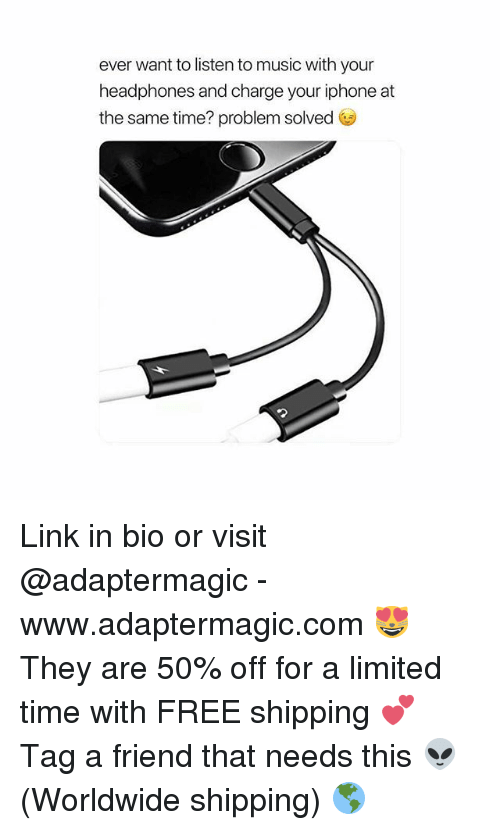 Iphone, Music, and Free: ever want to listen to music with your  headphones and charge your iphone at  the same time? problem solved Link in bio or visit @adaptermagic - www.adaptermagic.com 😻 They are 50% off for a limited time with FREE shipping 💕 Tag a friend that needs this 👽 (Worldwide shipping) 🌎