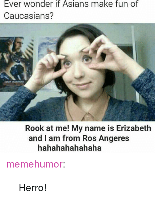 "Hahahahahahaha: Ever wonder it Asians make fun of  Caucasians?  Rook at me! My name is Erizabeth  and I am from Ros Angeres  hahahahahahaha <p><a href=""http://memehumor.net/post/168044219413/herro"" class=""tumblr_blog"">memehumor</a>:</p>  <blockquote><p>Herro!</p></blockquote>"