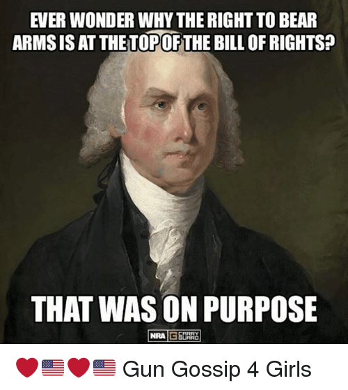 the right to bear arms is We the people of the united states, in order to form a more perfect union,  of  representatives shall be composed of members chosen every second year by  the  except what may be absolutely necessary for executing it's inspection  laws: and  state, the right of the people to keep and bear arms, shall not be  infringed.