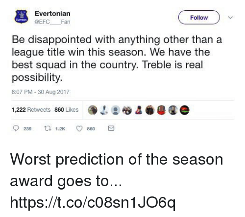 Disappointed, Memes, and Squad: Evertonian  @EFC Fan  Follow  Be disappointed with anything other than a  league title win this season. We have the  best squad in the country. Treble is real  possibility.  8:07 PM-30 Aug 2017  1,222 Retweets 860 Likes  镥-':胶&  4Q e  0239 1.2K ㅇ 860 Worst prediction of the season award goes to... https://t.co/c08sn1JO6q