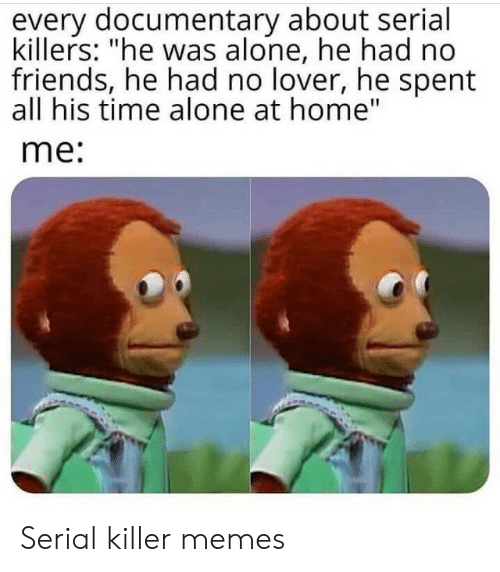 """serial killers: every documentary about serial  killers: """"he was alone, he had no  friends, he had no lover, he spent  all his time alone at home""""  me: Serial killer memes"""