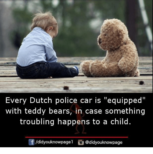 "Dutches: Every Dutch police car is ""equipped""  with teddy bears, in case something  troubling happens to a child  /didyouknowpagel@didyouknowpage"