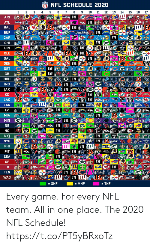 team: Every game. For every NFL team. All in one place.  The 2020 NFL Schedule! https://t.co/PT5yBRxoTz