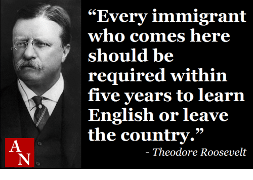 "theodore roosevelt: ""Every immigrant  who comes here  should be  required within  five years to learn  English or leave  the country.""  Theodore Roosevelt"