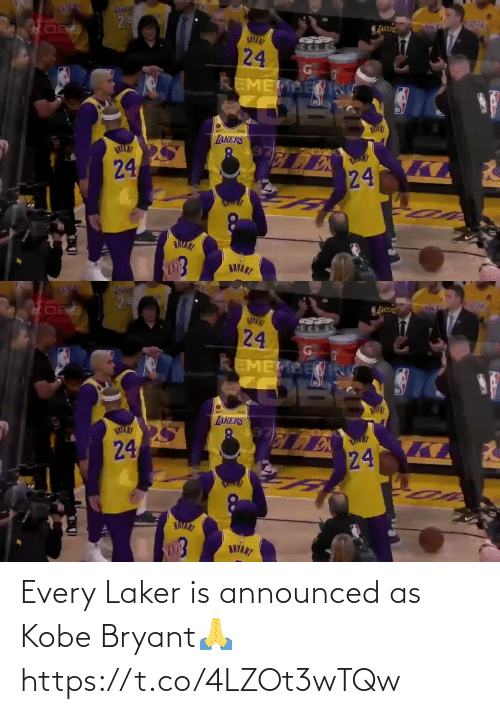 Kobe Bryant: Every Laker is announced as Kobe Bryant🙏 https://t.co/4LZOt3wTQw