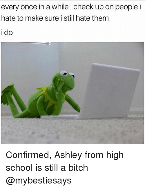 Bitch, School, and Girl Memes: every once in a while i check up on people i  hate to make sure i still hate them  i do Confirmed, Ashley from high school is still a bitch @mybestiesays