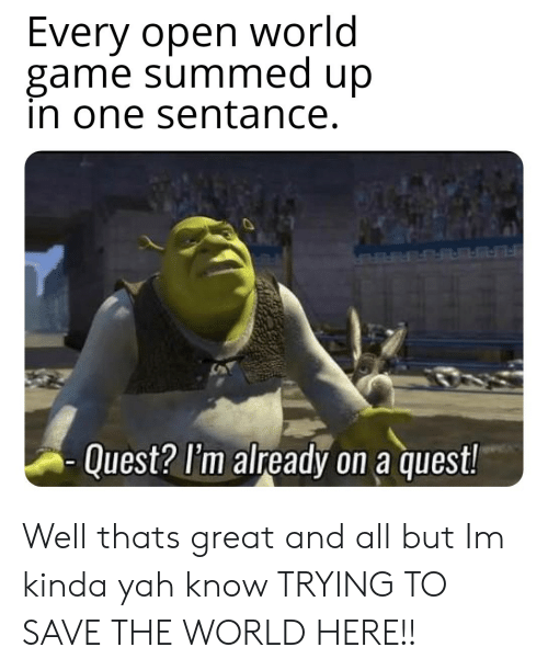 Summed Up: Every open world  game summed up  in one sentance.  Quest? l'm already on a quest! Well thats great and all but Im kinda yah know TRYING TO SAVE THE WORLD HERE!!
