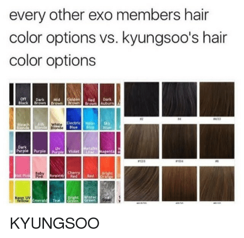 Auburn: every other exo members hair  color options vs. kyungsoo's hair  color options  Off Dark Geldened Dark  Black Brown Brown rown Brown Auburn  04  White  Electric Heon  Blue  Dark  Purple PurplePurple iolet Lila  UV  MagentaM  Cherry  Red Red  Neon UV  Bright Winter  Emerald Tea KYUNGSOO