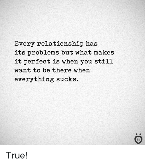 True, You, and What: Every relationship has  its problems but what makes  it perfect is when you still  want to be there when  everything sucks. True!