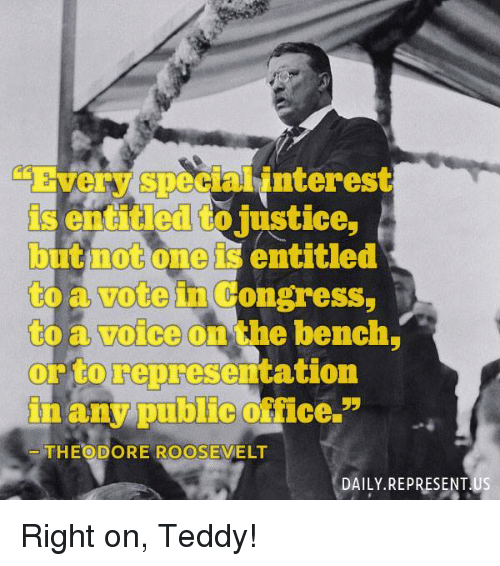 entitlement: Every Specialinterest  is entitled to justice  but not one is entitled  to Congress,  to a voice on the bench  or to representation  in any public fice.  55  THEODORE ROOSEVELT  DAILY REPRESENTUS Right on, Teddy!