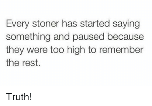pause: Every stoner has started saying  something and paused because  they were too high to remember  the rest. Truth!
