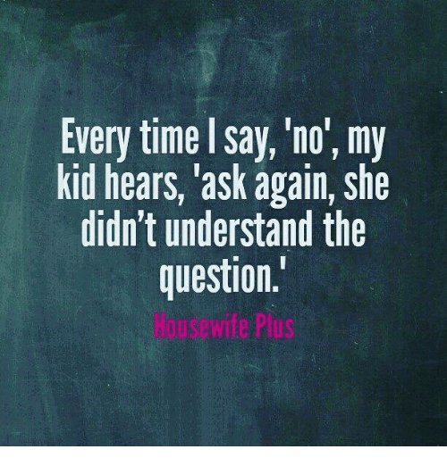 Memes, 🤖, and Ask: Every time I say, 'no', my  kid hears, ask again, she  didn't understand the  question  ous wife Plus