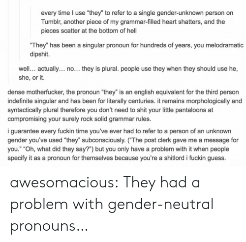 """Dense Motherfucker: every time I use """"they"""" to refer to a single gender-unknown person on  Tumblr, another piece of my grammar-filled heart shatters, and the  pieces scatter at the bottom of hel  They"""" has been a singular pronoun for hundreds of years, you melodramatic  dipshit.  well. actually... no... they is plural. people use they when they should use he,  she, or it.  dense motherfucker, the pronoun """"they"""" is an english equivalent for the third person  indefinite singular and has been for literally centuries. it remains morphologically and  syntactically plural therefore you don't need to shit your little pantaloons at  compromising your surely rock solid grammar rules.  i guarantee every fuckin time you've ever had to refer to a person of an unknown  gender you've used """"they"""" subconsciously. (The post clerk gave me a message for  you."""" """"Oh, what did they say?"""") but you only have a problem with it when people  specify it as a pronoun for themselves because you're a shitlord i fuckin guess. awesomacious:  They had a problem with gender-neutral pronouns…"""