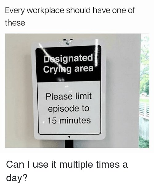 Crying, Funny, and Girl Memes: Every workplace should have one of  these  signated  Crying area  Please limit  episode to  15 minutes Can I use it multiple times a day?