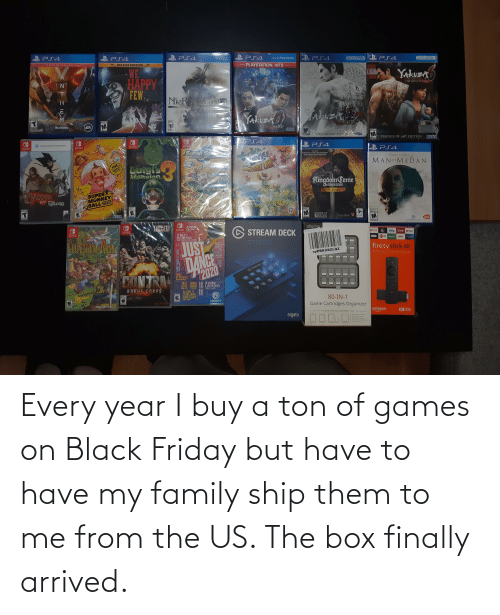 Black Friday: Every year I buy a ton of games on Black Friday but have to have my family ship them to me from the US. The box finally arrived.