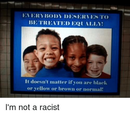 Funny, Black, and Blacked: EVERYBODY DESERVES TO  BE TREATED EQUALLY  It doesn't matter if you are black  or yellow or brown or normal I'm not a racist