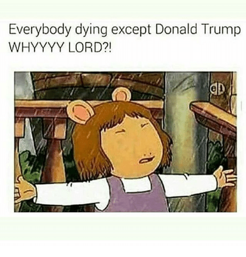 Donald Trump: Everybody dying except Donald Trump  WHYYYY LORD?!