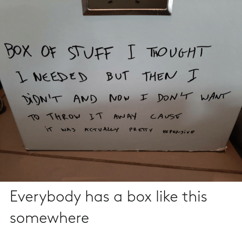 somewhere: Everybody has a box like this somewhere