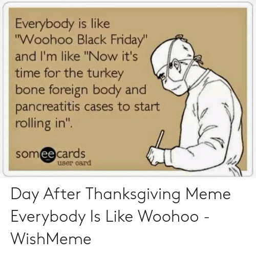 "Wishmeme: Everybody is like  ""Woohoo Black Friday""  and I'm like ""Now it's  time for the turkey  bone foreign body and  pancreatitis cases to start  rolling in""  someecards  user card Day After Thanksgiving Meme Everybody Is Like Woohoo - WishMeme"