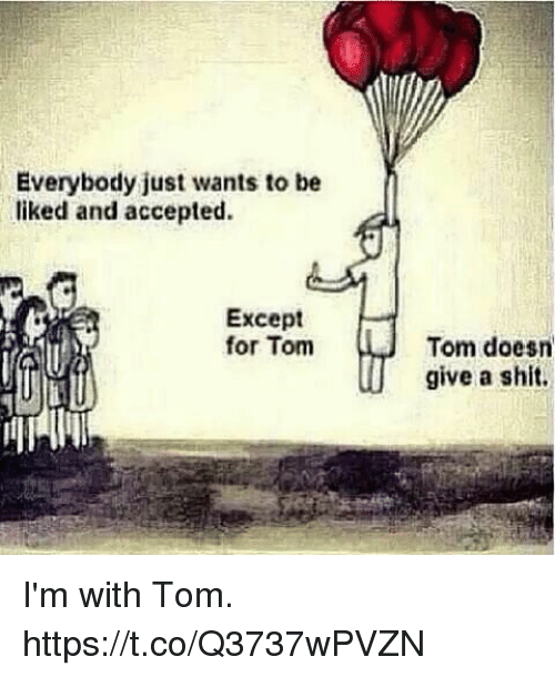 Memes, Shit, and Accepted: Everybody just wants to be  liked and accepted.  Except  for Tom  Tom doesn  give a shit. I'm with Tom. https://t.co/Q3737wPVZN