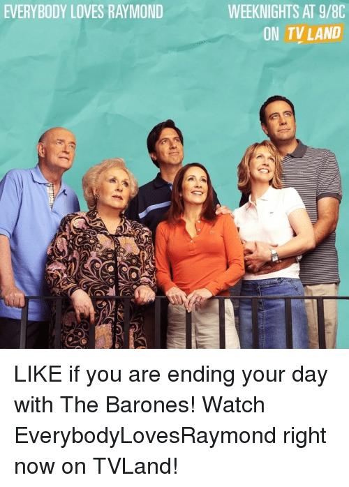 Memes, Everybody Loves Raymond, and 🤖: EVERYBODY LOVES RAYMOND  WEEKNIGHTS AT 9/8C  ON TV LAND LIKE if you are ending your day with The Barones! Watch EverybodyLovesRaymond right now on TVLand!