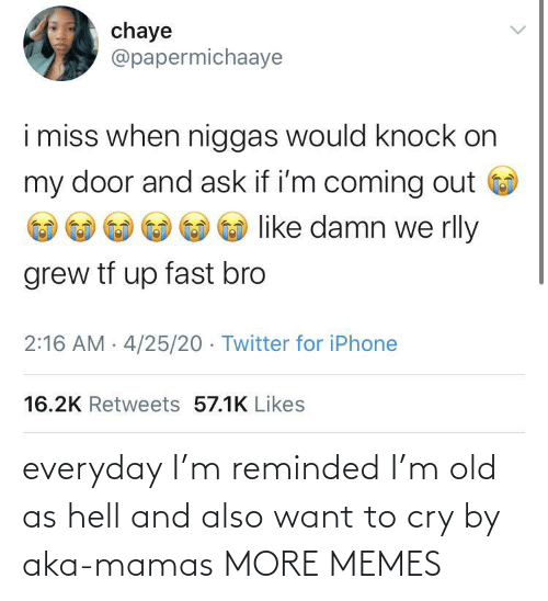 Hell: everyday I'm reminded I'm old as hell and also want to cry by aka-mamas MORE MEMES