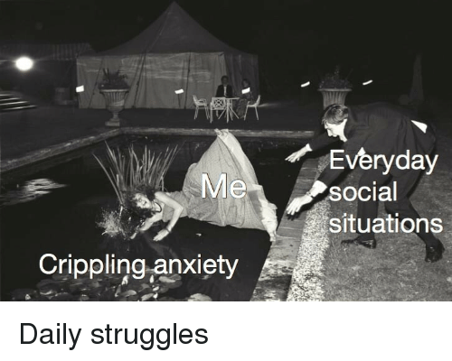 Crippling Anxiety: Everyday  social  situations  Me  Crippling -anxiety Daily struggles