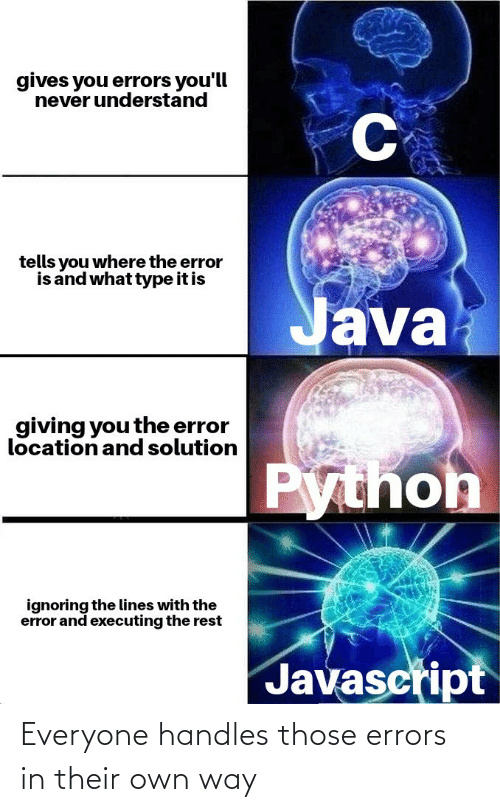 Errors: Everyone handles those errors in their own way