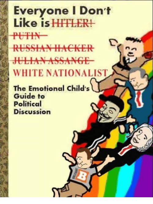 Hitlerism: Everyone I Don't  Like is HITLER!  PUTIN  WHITE NATIONALIST  The Emotional Child's  Guide to  Political  Discussion