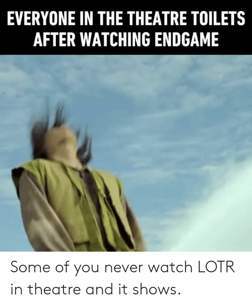 toilets: EVERYONE IN THE THEATRE TOILETS  AFTER WATCHING ENDGAME Some of you never watch LOTR in theatre and it shows.